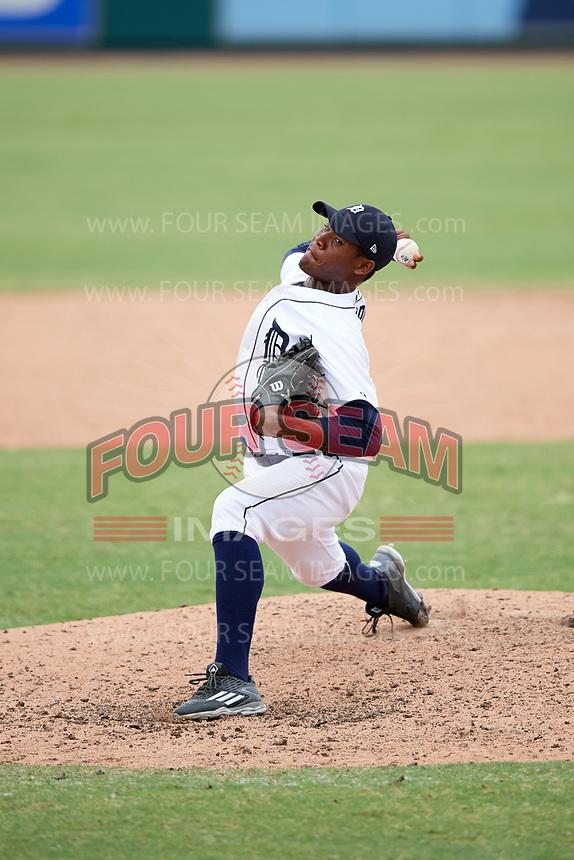 Detroit Tigers pitcher Sandel De La Cruz (70) delivers a pitch during an Instructional League game against the Toronto Blue Jays on October 12, 2017 at Joker Marchant Stadium in Lakeland, Florida.  (Mike Janes/Four Seam Images)