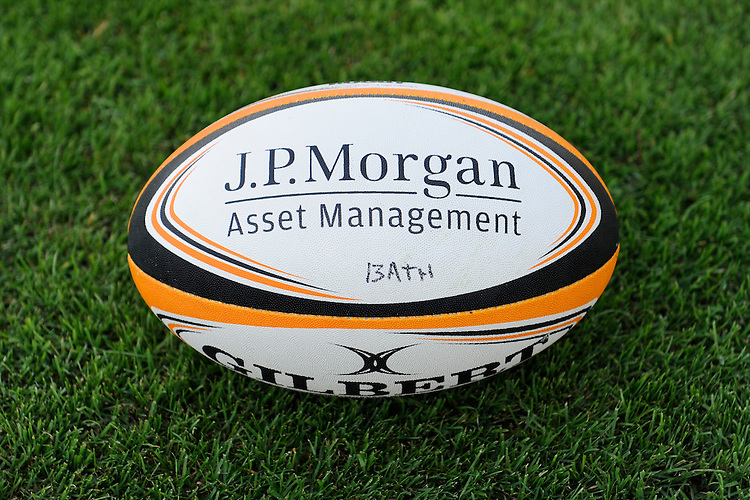 20130801 Copyright onEdition 2013 ©<br /> Free for editorial use image, please credit: onEdition.<br /> <br /> JP Morgan branding on the match ball before the J.P. Morgan Asset Management Premiership Rugby 7s Series.<br /> <br /> The J.P. Morgan Asset Management Premiership Rugby 7s Series kicks off for the fourth season on Thursday 1st August with Pool A at Kingsholm, Gloucester with Pool B being played at Franklin's Gardens, Northampton on Friday 2nd August, Pool C at Allianz Park, Saracens home ground, on Saturday 3rd August and the Final being played at The Recreation Ground, Bath on Friday 9th August. The innovative tournament, which involves all 12 Premiership Rugby clubs, offers a fantastic platform for some of the country's finest young athletes to be exposed to the excitement, pressures and skills required to compete at an elite level.<br /> <br /> The 12 Premiership Rugby clubs are divided into three groups for the tournament, with the winner and runner up of each regional event going through to the Final. There are six games each evening, with each match consisting of two 7 minute halves with a 2 minute break at half time.<br /> <br /> For additional images please go to: http://www.w-w-i.com/jp_morgan_premiership_sevens/<br /> <br /> For press contacts contact: Beth Begg at brandRapport on D: +44 (0)20 7932 5813 M: +44 (0)7900 88231 E: BBegg@brand-rapport.com<br /> <br /> If you require a higher resolution image or you have any other onEdition photographic enquiries, please contact onEdition on 0845 900 2 900 or email info@onEdition.com<br /> This image is copyright the onEdition 2013©.<br /> <br /> This image has been supplied by onEdition and must be credited onEdition. The author is asserting his full Moral rights in relation to the publication of this image. Rights for onward transmission of any image or file is not granted or implied. Changing or deleting Copyright information is illegal as specified in the Copyright, Design and Patents Act 1988. If 