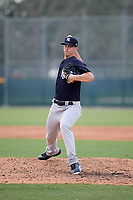 New York Yankees pitcher Cody Carroll (41) delivers a pitch during an Instructional League game against the Pittsburgh Pirates on September 28, 2017 at Pirate City in Bradenton, Florida.  (Mike Janes/Four Seam Images)