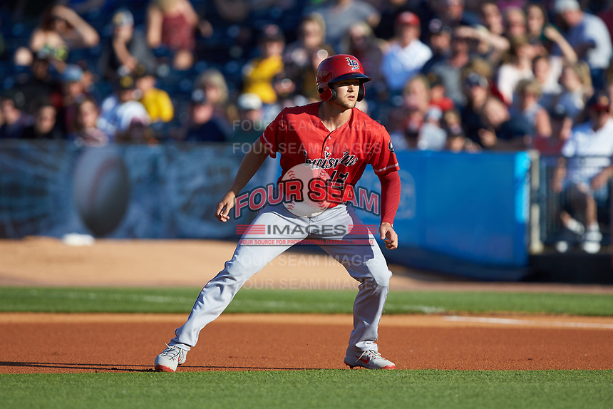 Nick Senzel (12) of the Louisville Bats takes his lead off of first base against the Toledo Mud Hens at Fifth Third Field on June 16, 2018 in Toledo, Ohio. The Mud Hens defeated the Bats 7-4.  (Brian Westerholt/Four Seam Images)
