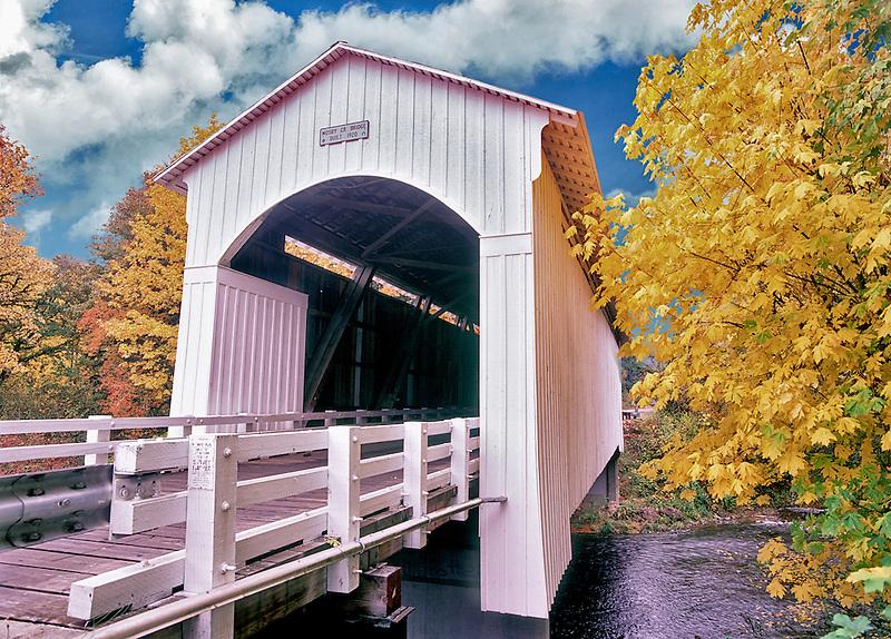 Mosby Creek bridge and fall color. Near Cottage Grove, Oregon.