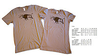 The Sand-colored version of our most popular t-shirt (for those who don't like the yellow), featuring a Yellowstone bison tossing a tourist in the air.  This is the same design that has been used on safety fliers in the park for decades.  The image is used legally and with permission.<br /> <br /> Available in Unisex and Women's styles.  Also available in Yellow.