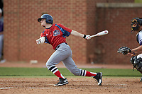 Rex MacMillan (1) of the NJIT Highlanders follows through on his swing against the High Point Panthers at Williard Stadium on February 18, 2017 in High Point, North Carolina. The Panthers defeated the Highlanders 11-0 in game one of a double-header. (Brian Westerholt/Four Seam Images)
