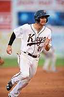 Frederick Keys third baseman Collin Woody (21) runs the bases during the second game of a doubleheader against the Lynchburg Hillcats on June 12, 2018 at Nymeo Field at Harry Grove Stadium in Frederick, Maryland.  Frederick defeated Lynchburg 8-1.  (Mike Janes/Four Seam Images)
