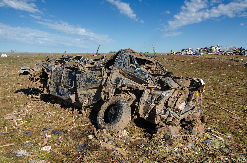 Automobile carried over 100 yards by devastating Moore Oklahoma tornado of May 20th, 2013.