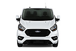 Car photography straight front view of a 2021 Ford Transit-Custom Trend 4 Door Cargo Van Front View