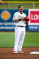 Collin Cowgill (12) of the Salt Lake Bees stands at second base during the game against the Iowa Cubs in Pacific Coast League action at Smith's Ballpark on August 20, 2015 in Salt Lake City, Utah. The Cubs defeated the Bees 13-2.  (Stephen Smith/Four Seam Images)