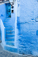 Chefchaouen, Morocco.  Stairway to a House in the Medina.