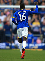 25th September 2021; Goodison Park, Liverpool, England; Premier League football, Everton versus Norwich; Abdoulaye Doucoure of Everton raises his fist to salute the Everton supporters after scoring his teams second goal after 77 minutes
