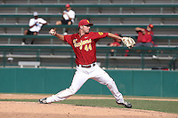 Jeff Paschke (44) of the Southern California Trojans pitches during a game against the Oregon Ducks at Dedeaux Field on April 18, 2015 in Los Angeles, California. Oregon defeated Southern California, 15-4. (Larry Goren/Four Seam Images)