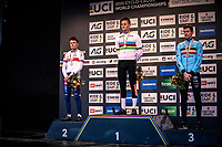 podium:<br /> <br /> 1st place: Mathieu van der Poel (NED)<br /> 2nd place: Thomas Pidcock (GBR)<br /> 3th place: Toon Aerts (BEL)<br /> <br /> <br /> Men's Elite race<br /> UCI 2020 Cyclocross World Championships<br /> Dübendorf / Switzerland<br /> <br /> ©kramon