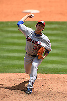Tennessee Smokies pitcher Dae-Eun Rhee (39) delivers a pitch during a game against the Birmingham Barons on April 21, 2014 at Regions Field in Birmingham, Alabama.  Tennessee defeated Birmingham 10-5.  (Mike Janes/Four Seam Images)