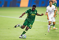 CARSON, CA - OCTOBER 07: Larrys Mabiala #33 of the Portland Timbers moves with the ball during a game between Portland Timbers and Los Angeles Galaxy at Dignity Heath Sports Park on October 07, 2020 in Carson, California.