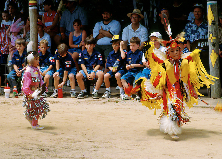 Tribal dance performance. Boy scout troup. Traditional dance square. Child dancer. American Indian. Native tribe. Livingston Texas, Alabama-Coushatta Indian Reservation.