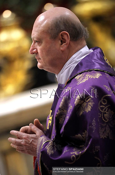 Cardinal Italian Gianfranco Ravasi..Pope Benedict XVI leads the mass for Ash Wednesday, opening Lent, the forty-day period of abstinence and deprivation for the Christians, before the Holy Week and Easter, on February 13, 2013