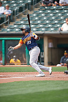 Francisco Peña (23) of the Las Vegas Aviators at bat against the Salt Lake Bees at Smith's Ballpark on July 25, 2021 in Salt Lake City, Utah. The Aviators defeated the Bees 10-6. (Stephen Smith/Four Seam Images)
