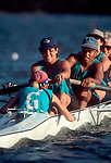 Rowing, Masters women rowing a four with cox in regatta competition, Greenlake Crew, Seattle, .