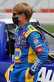 HAMPTON, GEORGIA - JUNE 06: Derek Kraus, driver of the #19 NAPA AUTOCARE Toyota, waits on the grid prior to the NASCAR Gander Outdoors Truck Series Vet Tix Camping World 200 at Atlanta Motor Speedway on June 06, 2020 in Hampton, Georgia. (Photo by Chris Graythen/Getty Images)
