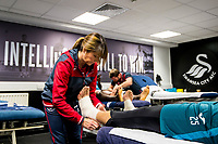 Erwin Mulder of Swansea City receives treatment <br /> Re: Behind the Scenes Photographs at the Liberty Stadium ahead of and during the Premier League match between Swansea City and Bournemouth at the Liberty Stadium, Swansea, Wales, UK. Saturday 25 November 2017