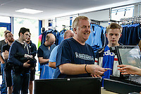 Fans queue to make their purchases during the 2016/17 Kit Launch of Wycombe Wanderers to the public at Adams Park, High Wycombe, England on 10 July 2016. Photo by David Horn.