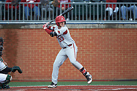 Grant Koch (33) of the Arkansas Razorbacks at bat against the Charlotte 49ers at Hayes Stadium on March 21, 2018 in Charlotte, North Carolina.  The 49ers defeated the Razorbacks 6-3.  (Brian Westerholt/Four Seam Images)