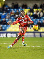 Romaine Sawyers of Walsall during the Sky Bet League 1 match between Millwall and Walsall at The Den, London, England on the 26th December 2015. Photo by Liam McAvoy.