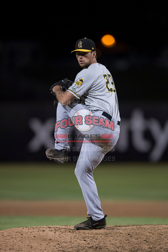Salt Lake Bees relief pitcher Jake Jewell (25) prepares to deliver a pitch during a Pacific Coast League game against the Fresno Grizzlies at Chukchansi Park on May 14, 2018 in Fresno, California. Fresno defeated Salt Lake 4-3. (Zachary Lucy/Four Seam Images)