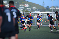 Action from the 2019 Hurricanes Secondary Schools Under-14 Boys' Rugby Tournament match between Feilding High School and St Bernard's College at Wakefield Park in Wellington, New Zealand on Monday, 2 September 2018. Photo: Dave Lintott / lintottphoto.co.nz