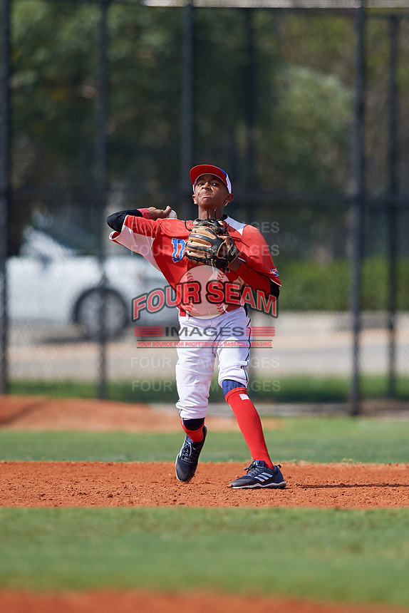 Fabian Lopez (4) during the Dominican Prospect League Elite Florida Event at Pompano Beach Baseball Park on October 15, 2019 in Pompano beach, Florida.  (Mike Janes/Four Seam Images)