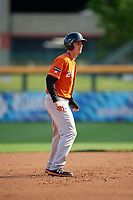 Norfolk Tides Ryan Mountcastle (20) leads off during an International League game against the Buffalo Bisons on June 21, 2019 at Sahlen Field in Buffalo, New York.  Buffalo defeated Norfolk 2-1, the first game of a doubleheader.  (Mike Janes/Four Seam Images)