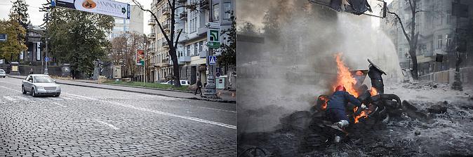Fotopaar_ Gruschewska Straße_ca. ein Jahr später, wo die heftigsten Straßenkämpfe stattfanden 10.2014-25.01.2014 / Foto-pair_Hrushevkaja Street in Kiew 10.2014-25.01.2014