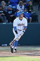 Sean Bouchard (5) of the UCLA Bruins bats against the Texas Longhorns at Jackie Robinson Stadium on March 12, 2016 in Los Angeles, California. UCLA defeated Texas, 5-4. (Larry Goren/Four Seam Images)