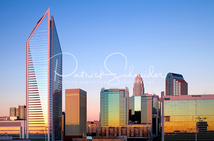 Skyline photography of the Charlotte NC downtown skyline. Photo, taken from the south side of Charlotte, is part on a regularly updated collection of Charlotte skyline imagery.Image shows the Duke Energy headquarters tower (far left) and the Bank of America tower (center) as well as other key structures in the Charlotte NC skyline.