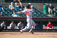 Mesa Solar Sox first baseman David MacKinnon (20), of the Los Angeles Angels organization, follows through on his swing during an Arizona Fall League game against the Scottsdale Scorpions at Scottsdale Stadium on November 2, 2018 in Scottsdale, Arizona. The shortened seven-inning game ended in a 1-1 tie. (Zachary Lucy/Four Seam Images)