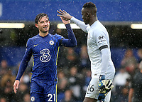 Chelsea's Ben Chilwell and goalkeeper, Edouard Mendy celebrate their victory at the final whistle during Chelsea vs Southampton, Premier League Football at Stamford Bridge on 2nd October 2021