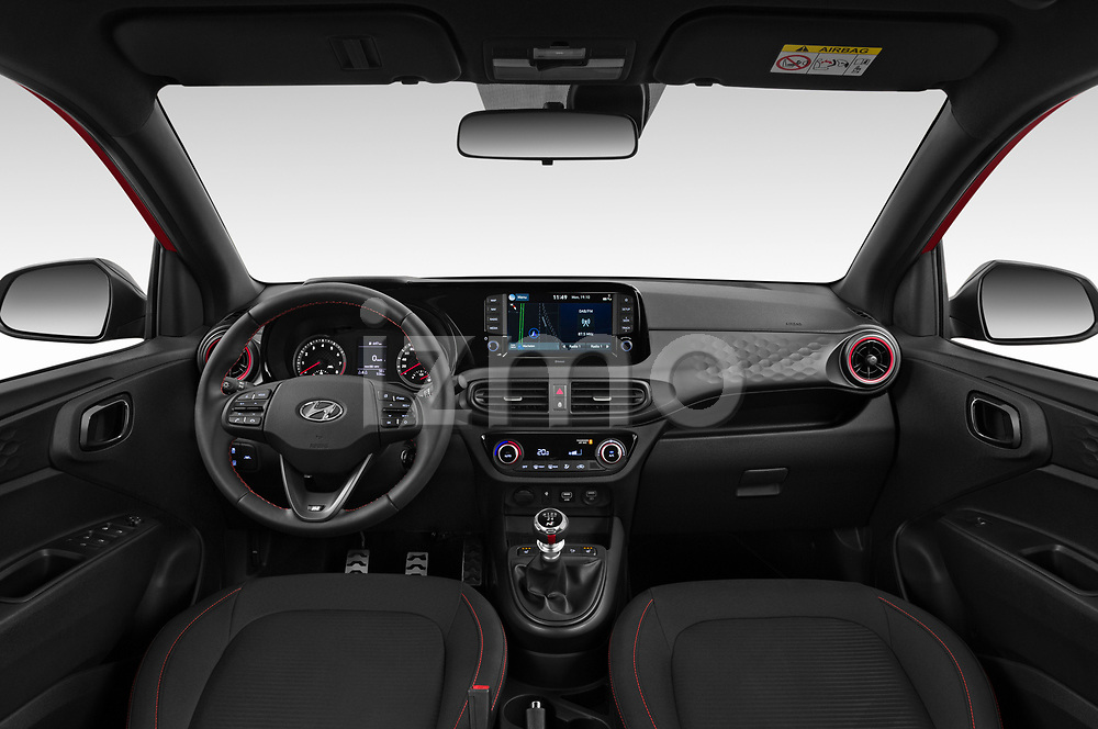 Stock photo of straight dashboard view of 2020 Hyundai i10 Sky-Line 5 Door Hatchback Dashboard
