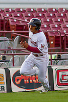 Wisconsin Timber Rattlers outfielder Trent Clark (27) rounds third base during a Midwest League game against the Clinton LumberKings on May 9th, 2016 at Fox Cities Stadium in Appleton, Wisconsin.  Clinton defeated Wisconsin 6-3. (Brad Krause/Four Seam Images)