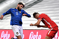 Domenico Berardi of Italy and Arkadiusz Reca of Poland during the Uefa Nation League Group Stage A1 football match between Italy and Poland at Citta del Tricolore Stadium in Reggio Emilia (Italy), November, 15, 2020. Photo Andrea Staccioli / Insidefoto