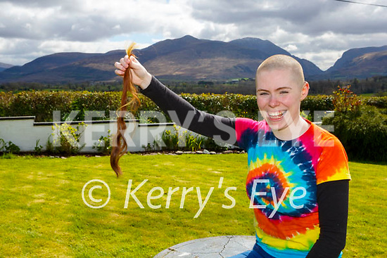 Laura Whelton Fossa  shaved her head  for the Kerry Rape Crisis Centre at her home on Tuesday