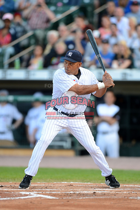 Hall of Fame outfielder Reggie Jackson #44 at bat during the MLB Pepsi Max Field of Dreams game on May 18, 2013 at Frontier Field in Rochester, New York.  (Mike Janes/Four Seam Images)