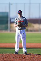 Zander McFee (50), from Casper, Wyoming, while playing for the Indians during the Under Armour Baseball Factory Recruiting Classic at Red Mountain Baseball Complex on December 28, 2017 in Mesa, Arizona. (Zachary Lucy/Four Seam Images)