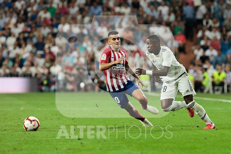 Real Madrid's Vinicius Jr. and Atletico de Madrid's Angel Martin Correa during La Liga match between Real Madrid and Atletico de Madrid at Santiago Bernabeu Stadium in Madrid, Spain. September 29, 2018. (ALTERPHOTOS/A. Perez Meca)