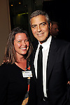 The Chronicle's Maggie Galehouse and George Clooney at the VIP reception before Clooney's appearance at the Brilliant Lecture Series at the Wortham Theater Thursday May 3,2012. (Dave Rossman Photo)