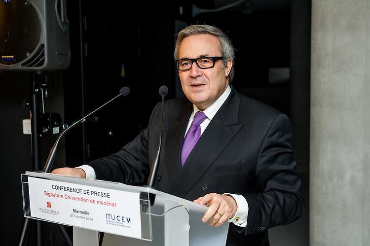Monsieur Alain Lacroix, Président du Directoire de la Caisse d'Epargne Provence Alpes Corse ( CEPAC ) au MuCEM, le 27 février 2014, à Marseille.