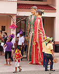 "Oversized puppet figures, the Bulihan ""king"" and ""queen,"" led the parade that opened the Sampaloc Bulihan Festival in April 2012. (Sampaloc, Quezon Province, the Philippines.)"
