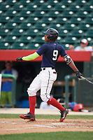 Alberto Fabian (9) hits a home run during the Dominican Prospect League Elite Underclass International Series, powered by Baseball Factory, on July 31, 2017 at Silver Cross Field in Joliet, Illinois.  (Mike Janes/Four Seam Images)