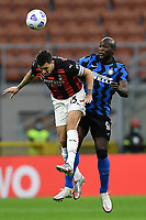 Alessio Romagnoli of AC Milan and Romelu Lukaku of FC Internazionale compete for the ball during the Serie A football match between FC Internazionale and AC Milan at stadio San Siro in Milano (Italy), October 17th, 2020. Photo Image Sport / Insidefoto