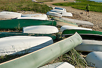Rowboats and canoes stored on beach, Wellfleet, Cape Cod,