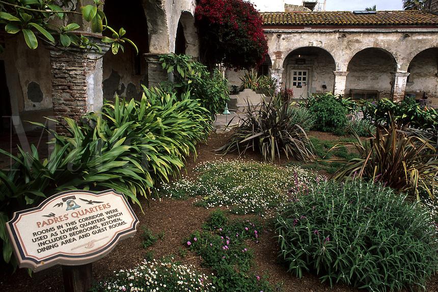 Famous Mission San Juan Capistrano Gardens Home of the returning Swallows birds California US
