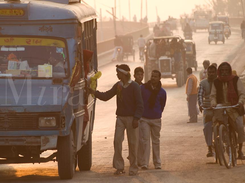 Traffic comes off a bridge in Varanasi, Uttar Pradesh, India